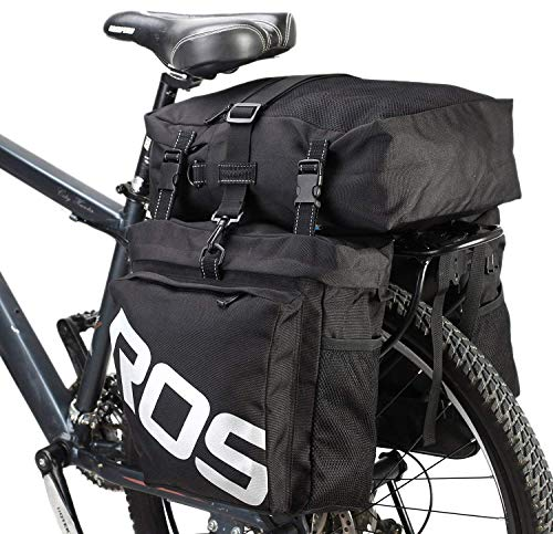 Roswheel 3-in-1 Waterproof Bicycle Cycling Messenger Pannier Bag Gear Pack Bicycle Carrier Rack Bicycle Luggage Pack (Black)