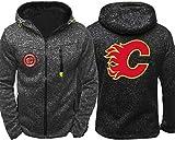 Sudadera Unisex, Capucha de la Chaqueta de los Hombres - Los Aficionados de Hockey Calgary Flames Chaquetas de Entrenamiento de Primavera/Verano de Cremallera Cardigan Prendas de Deporte - Los adole