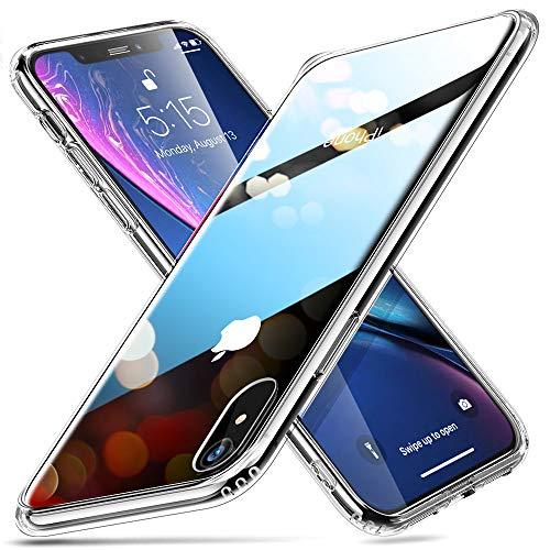 """ESR Cover Compatibile con iPhone XR, Custodia in Vetro Temperato 9H, Copre solo il retro dell'phone, Antigraffio, Cornice Paraurti in Silicone Morbido Compatibile con iPhone XR 6.1"""", 2018"""