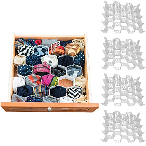 Evelots Drawer Organizer-Divider-Sock-Belt-Scarf-Underwear-112 Slots Total-Set/4