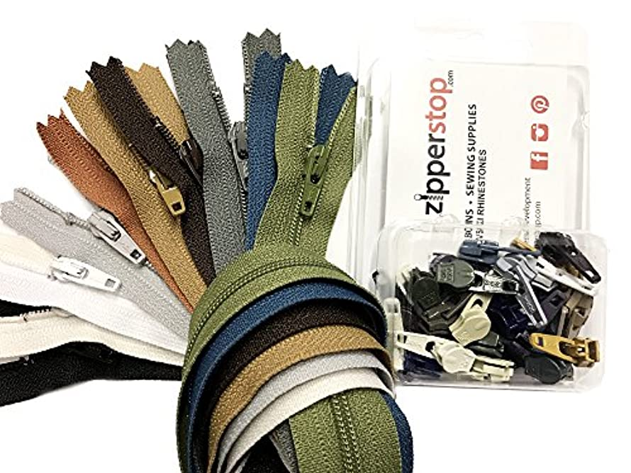ZipperStop Wholesale - Zipper Repair Kit Solution #3 coil YKK brand slider use in sewing or jewelry -Choice of brights, neutrals, or mix (YKK Neutral Set - 7pcs 22 inches Zippers / 15 Pulls)