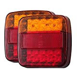 LiNKFOR Paio di 12V LED Luce Posteriore 5 Funzione Luce Targa Ambra Rosso Fanali Multiuso per Rimorchi Camion Barca Furgoni Caravan E-MARK