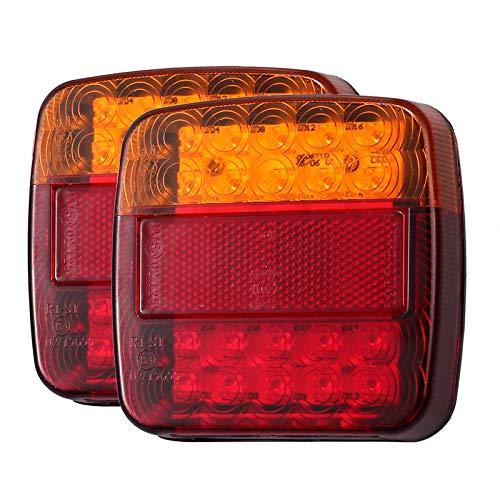Luces Traseras Remolque 2PCS 12V LED Piloto Trasero de 5 Funciones Luz de Matrícula Placa Trasera Luz de Freno Compatible con Camión Van Caravana Pilotos Homologados E13