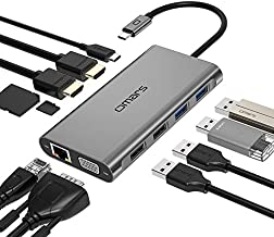 Omars USB-C Laptop Docking Station 11 in 1 Triple Display USB C Hub 4K Monitor Type C Adapter for HP Dell MacBook Pro and Windows (2HDMI VGA PD3.0 SD TF Card Reader Gigabit Ethernet 4USB Ports)