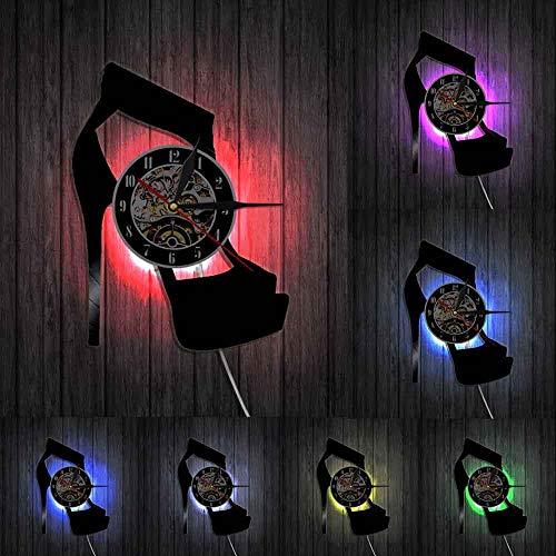 Reloj de pared clásico negro de diseño de tacón alto de moda de arte de la pared zapatos tienda de negocios cartel de pared de vinilo disco reloj de pared señora regalos luces LED