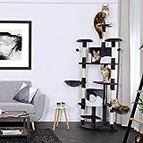 dibea KB00705 Kratzbaum (als Eck-Kratzbaum geeignet) für Katzen, Katzenkratzbaum, Höhe 200 cm, grau/weiß - 2
