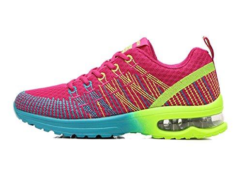 Damen Laufschuhe Sportschuhe Outdoor Running Freizeit Schuhe Turnschuhe Leicht Sneaker, Rosa / Gelb / Grün, EU 40