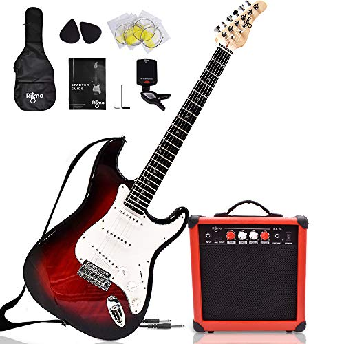 Complete 39 Inch Guitar and Amp Bundle Kit for Beginners-Starter Set Includes 6 String Tremolo Guitar, 20W Amplifier with Distortion, 2 Picks, Shoulder Strap, Tuner, Bag Case - Right-Handed Red