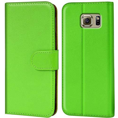 Verco Custodia per Samsung Galaxy S6 Edge, Case per Galaxy S6 Edge Cover PU Pelle Portafoglio Protettiva, Verde