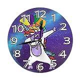 Uniocrn Mardi Gras Girl Mujeres Galaxy Space Mini Diseño Impreso Patrón temático Reloj de Pared Sala de Estar Comedor Dormitorio Escritorio en el hogar Sin tictac
