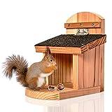 Skojig© wetterfeste Eichhörnchen Futterstelle   Futterhaus aus robusten Naturholz - Futterstation...
