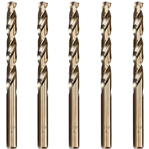 Hymnorq Metric 9mm M35 Grade Cobalt Steel Drill Bit Set of 5pcs with Straight Shank to Cut Cast Iron, Heat-Treated Steel, Stainless Steel and Other Hard Materials