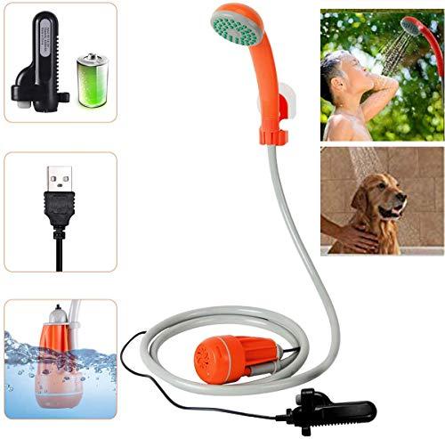 Campingdusche mit Akku, Camping Dusche Outdoor, 2200mAhwiederaufladbarer Akku 12V Pumpe mit USB-Ladekabel für Camping Garten, Outdoor, Reisen, Tierdusche, Autoreinigung