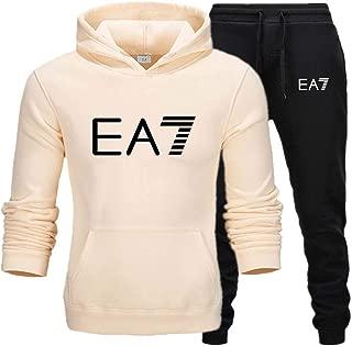 Men's Casual Sportswear Set Solid Color Hoodie Bottoms 2 Piece Sweatshirt Pants Sports Set Jogger New,Beige,XXL