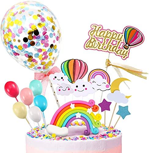 iZoeL Decorazione Torta Palloncino Arcobaleno Nuvola Stella Arcobaleno, Happy Birthday Banner, Per Ragazzo Ragazza Compleanno Del Capretto