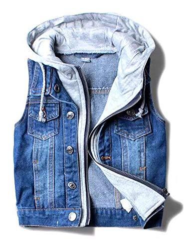 CYSTYLE Kinder Baby Jungen Weste Ärmellose Jeansjacke Jeansweste Biker Fashion Denim Slim Fit Outwear mit Kapuze (140/Körpergröße 130cm)
