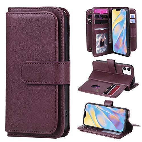 """LODROC iPhone 12 Mini (5,4"""") Hülle, TPU Lederhülle Magnetische Schutzhülle [Kartenfach] [Standfunktion], Stoßfeste Tasche Kompatibel für Apple iPhone 12mini 2020 - LOKT0200055 Rotwein"""