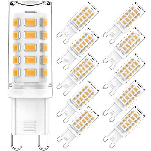 AGOTD 4W G9 LED Lampe, 3000K 400 Lumen Warmweiß Kein Flackern LED Leuchtmittel, Nicht Dimmbar 360 Grad Winkel, Ersatz 40W G9 Halogenlampe, 10er Pack