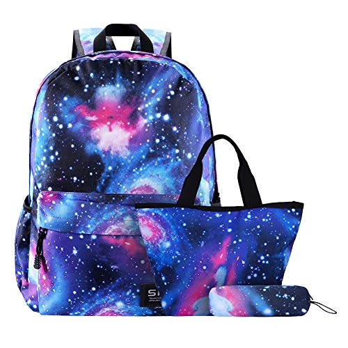 Galaxy School Backpack Bookbag Casual Daypack Travel Laptop Backpack for Girls Women Teenagers (Galaxy with Lunch Bag Pencil Case)