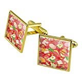 GRAPHICS & MORE Messy Sandwich Pattern Bread Cheese Bacon Lettuce Egg Food Square Cufflink Set Gold...