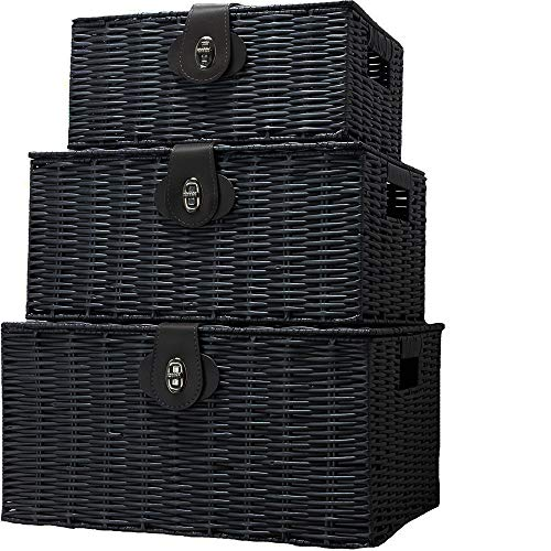 dytrading Set of 3 Wicker Storage Baskets With Lid Lock Resin Woven Basket Gift Hamper Box Set(Black)