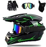 YXLM Casque de moto cross avec lunettes gants masque, noir vert casque vtt intégral casque cross enfants, unisexe vélo enduro descente BMX hors route (M)