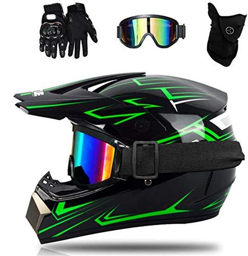 YXLM Casco da motocross con occhiali Guanti Maschera, Casco da MTB integrale nero verde Casco da cross per bambini, Unisex Enduro Downhill BMX Off Road Bike (L)