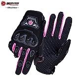 SCOYCO Woman Motorcycle Gloves Armor Breathable Female Glove Anti-skid MBX/MTB/ATV Sport Pink Dirt Bike Gloves (S)