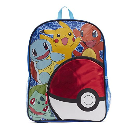 "Pokemon Big Boys Pokeball Pocket 16"" Backpack, Yellow/Blue, 16"