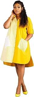 Fashion Pinstripe Patchwork Shirt Dress Turn Down Collar Long Sleeve Pockets Loose Casual Asymmetrical Dresses
