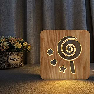 Lollipop 3D Wooden lamp LED Night Light Home Room Decoration Creative Table Lamps for Gifts