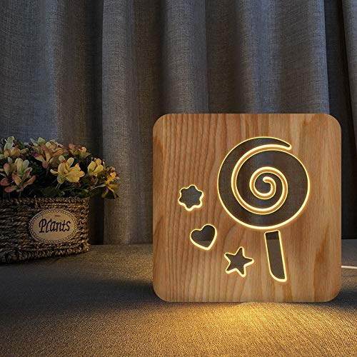 Lollipop 3D lampe en bois LED Night Light Home Room Decoration Creative Lampes de table pour les cadeaux
