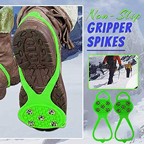 Universal NonSlip Gripper SpikesGrippers Spikes AntiSlip Over ShoeDurable Cleats with Good Elasticity Easy to Pull On or Take OffSuitable for All Type of ShoesPerfect for Winter Sports green