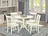 DLNO5-WHI-W 5 PC Dublin kitchen table set-Dining table and 4 wood seat kitchen chairs