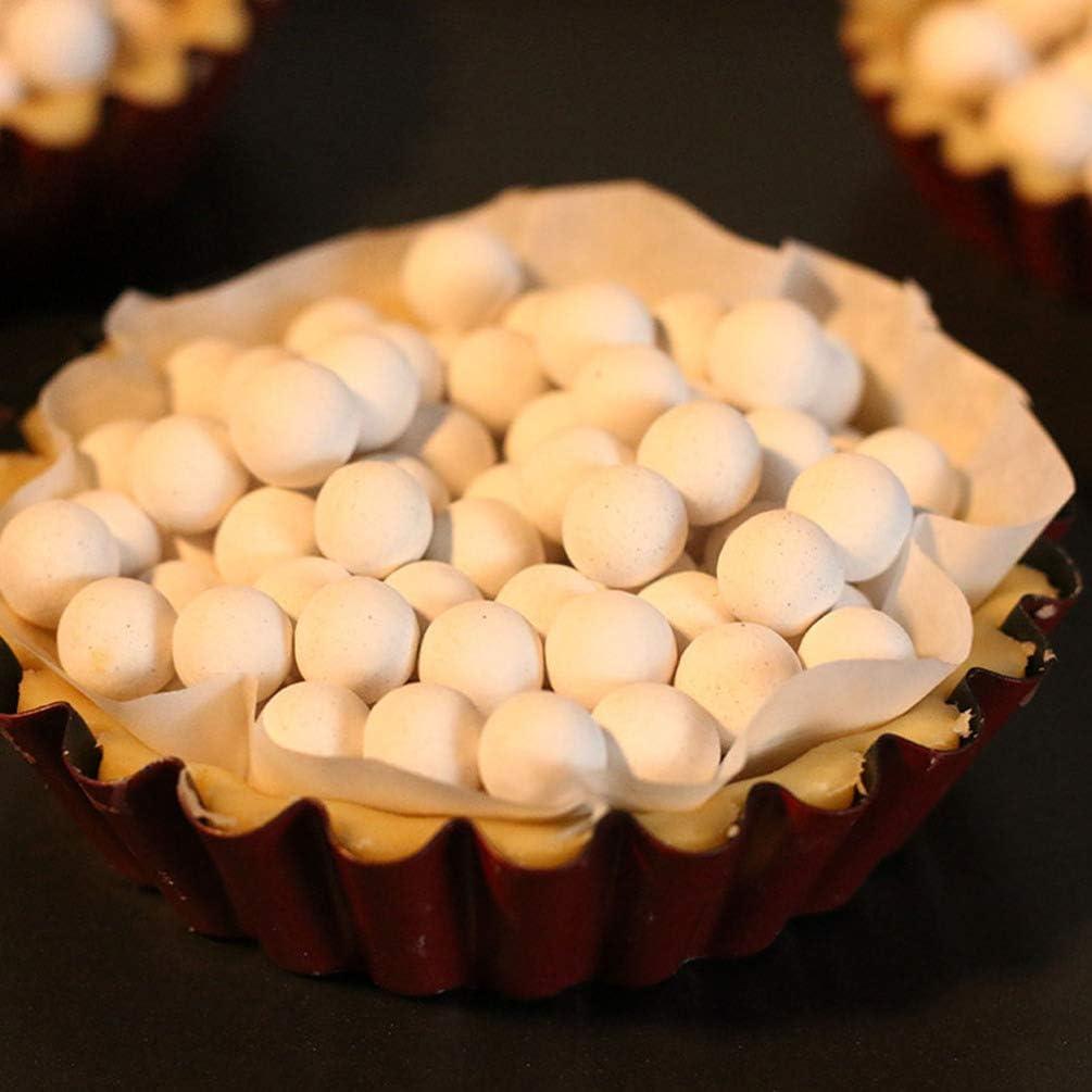 Hemoton Poids de Tarte avec Bouteille de Stockage Grès de Cuisson Résistant à La Chaleur de Qualité Alimentaire pour Tarte à Tarte (580G) Blanc 2
