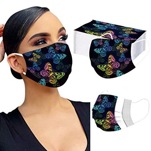 LUCKME 10/20/50/100 Stück Einmal-Mundschutz Schmetterlings Druck, Staubschutz Atmungsaktive Mundbedeckung, Erwachsene, Bandana Face Cover Sommerschal