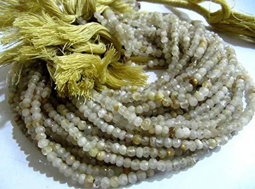Shree_Narayani Oro natural de cuarzo rutilado 3-4mm Rondelle facetó perlas de 13 pulgadas de largo semi precioso color dorado perlas de piedra natalicia 2 hebras