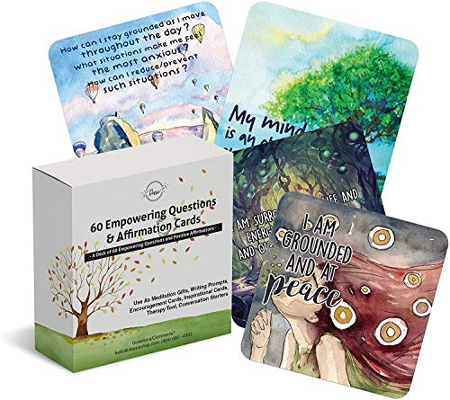 60 Affirmation Cards with Thought Provoking Empowering Questions. Mindfulness cards for Group and Self Therapy. Inspirational Self Care Gifts for Women, Meditation Gifts and Conversation Starters
