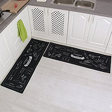 Carvapet 2 Piece Non-Slip Kitchen Mat Rubber Backing Doormat Runner Rug Set, Cozinha Design (Black 15 x47 )