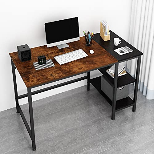 JOISCOPE Desk,Computer Desk,Office Desk,Study Table with Shelves,Writing Desk,Industrial Table Made of Wood and Metal,120 x 60 x 75 cm (Vintage Oak Finish)