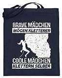 shirt-o-magic Klettern: Coole Mädchen klettern selber - Jutebeutel (mit langen Henkeln) -38cm-42cm-Deep Blue
