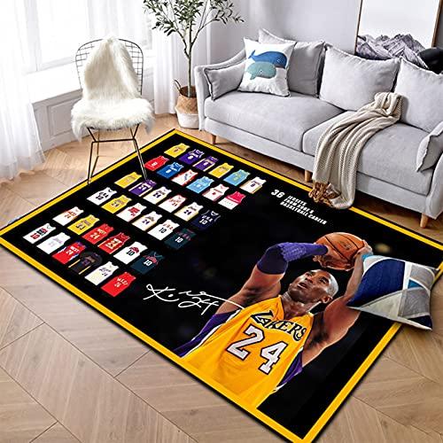 Mamba Kobe Alfombras, Lakers Baloncesto Impreso Alfombra para Adolescentes Niños Poliéster Decoración del Hogar Sofá Alfombra de Piso para Dormitorio Mamba2-200 * 300