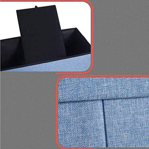 ATTDDP Tabouret Repose Tabouret Coffre De Rangement - Stockage Tabouret Pouf Chaise Ottoman Repos Repose-Pieds Cubes Polyvalent Espace Carré Boîte,Dark Blue Light Gray