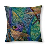 Funda de almohada de diseño de libélulas coloridas