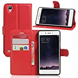 Tasche für OPPO F1 (5 zoll) / OPPO A35 Hülle, Ycloud PU Ledertasche Flip Cover Wallet Hülle Handyhülle mit Stand Function Credit Card Slots Bookstyle Purse Design rote