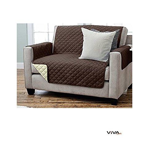 Viva Living Wende Sesselschoner Sofaschoner Sesselschutz Sofaüberwurf mit Armlehnen und Taschen (2- Sitzer 191 x 224 cm, braun/beige)