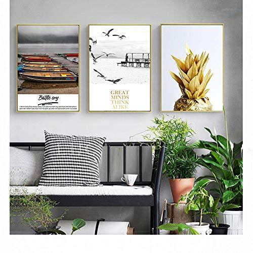 Plakate und Drucke Goldene Ananas Wandkunst Leinwand Malerei Wandbilder für Wohnzimmer Nordische Dekoration 45X60Cmx3...