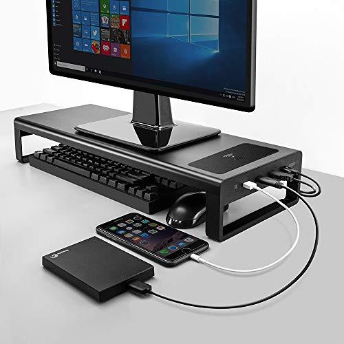 Vaydeer USB3.0 Wireless Charging Aluminium Monitor Ständer Riser Support Datenübertragung und Aufladung, Tastatur Maus Speicherorganisator Schreibtisch bis zu 32 Zoll für Laptop-Computer MacBook PC
