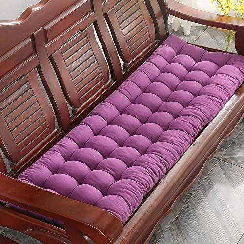 Shauzeh Cojín grueso para banco, cojín de banco, rectangular, suave, para jardín, banco de metal o madera, 2 3 plazas (160 x 48 cm), color morado