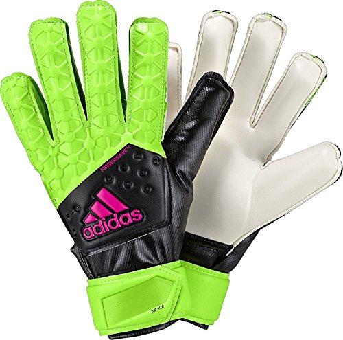 adidas Performance ACE Fingersave - Guantes de portero para niños - F1506GL011, Size 7, Verde/Negro/Rosa/Blanco (Solar Green/Black/Shock Pink/White)